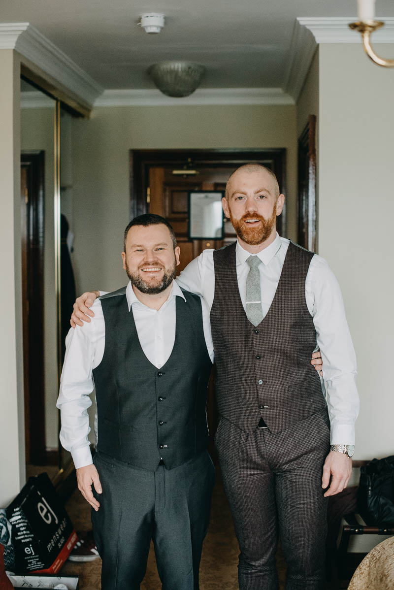 groom and best friend in glenlo abbey hotel