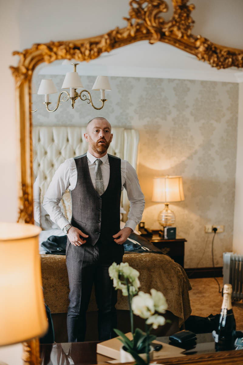 Groom;s getting ready in Glenlo Abbey Hotel, Galway