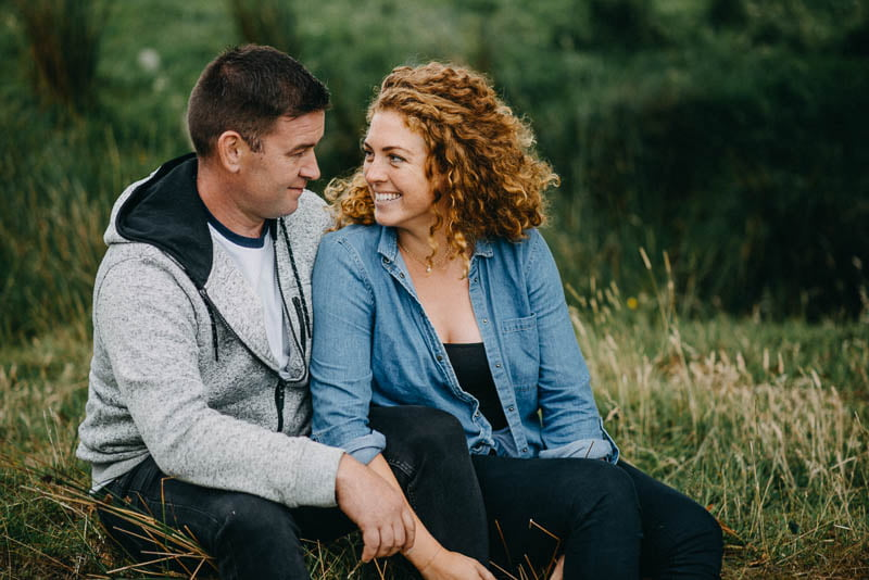 Emily & Stephen smiling on engagement session in sligo