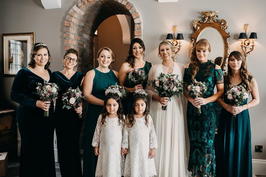 bride and bridesmaids in Markree Castle, Sligo wedding