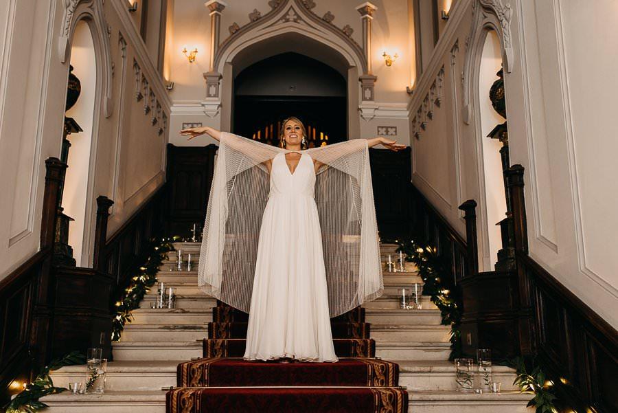 bride on stairs in markree castle sligo