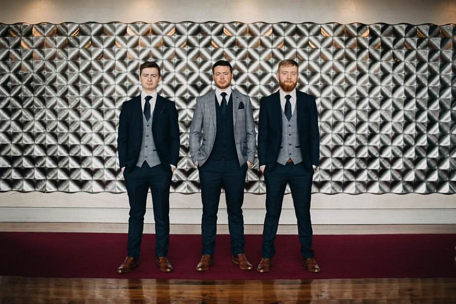 groom with groomsmen in the g hotel galway