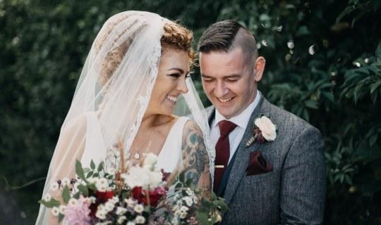 bride and groom in castle dargan wedding venue