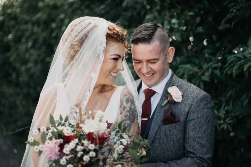 bride and groom in castle dargan wedding venue